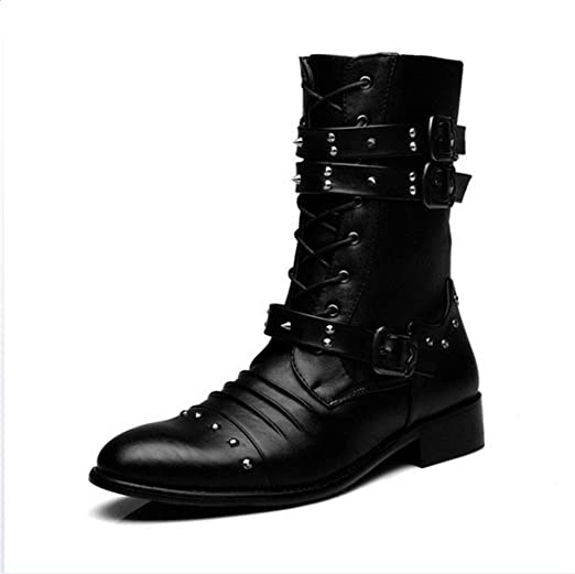 Jiahe Hommes Martin Bottes cloutés Chaussures Hommes Bottes