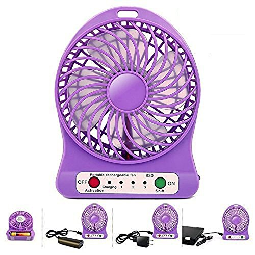 Dayotor Mini Small Portable Fan USB Rechargeable 3 Speed Fan with Torch  Multicolor