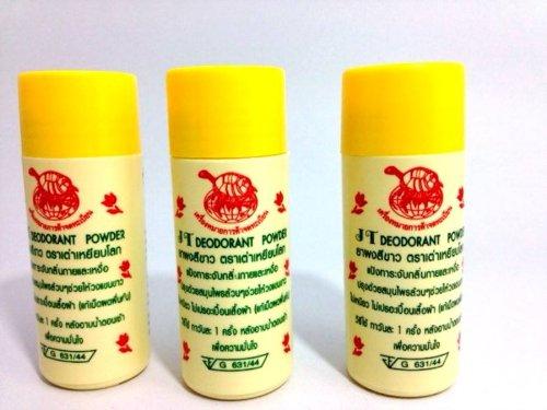 JT THAI NATURAL HERBAL DEODORANT ANTIPERSPIRANT POWDER WHITENING UNDERARM 3 Pieces 22 g/pack
