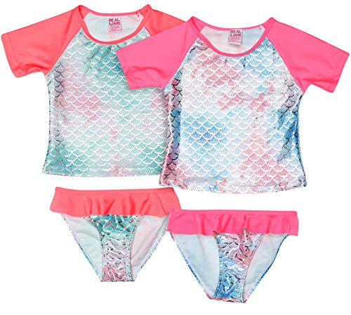 Real Love Baby Girls' 4-Piece Rashguard Swimsuit Set, 2 Tops and 2 Bikini Bottoms, Mermaid Print, Size 4T' (4t Bikini Swimsuit)