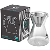 #1: Coffee Gator Pour Over Brewer – Unlock Flavor with Paperless Filter and Carafe – 14floz
