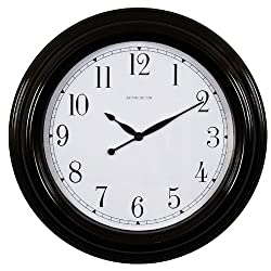 Ashton Sutton Wall Clock, Indoor And Outdoor Case, Black