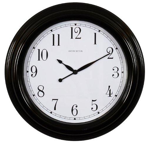 Ashton Sutton Outdoor Clock - Ashton Sutton Wall Clock, Indoor And Outdoor Case, Black