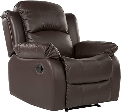 Divano Roma Furniture Bonded Leather Overstuffed Recliner Chair