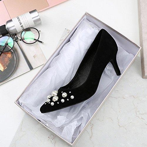 Altos Negro Punta CXY Zapatos 38 de Tacones de Individuales de Boca Zapatos Mujer de Perla Cuero Baja de Primavera con de HqHPS5gw