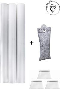 "White Pine Products Anti-Bacterial Refrigerator Shelf Liner, Drawer Liner, Universal Liner;(3 Rolls = 53""x 206.5"") High-Grade Quality, Non-Adhesive, Anti-Slip + Free Bamboo Charcoal Fridge FRESHENER"