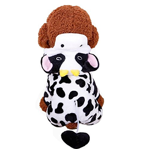 Costume Cow Xxl Dog (PetBoBo Pet Dog Cat Cow Halloween Party Fancy Tidy Costume for Dog Cat Jacket)
