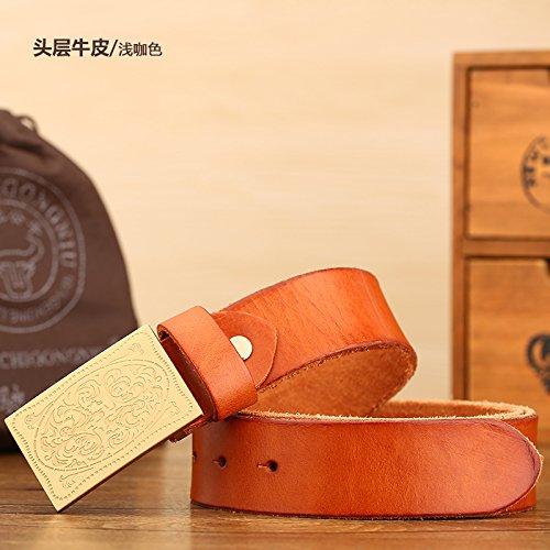Chic LLZZPPD Cinturón Cinturones Cinturón De Hebilla De Cobre Tallado Suave  Hebilla De Los de4dbfd6b87d