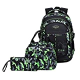 Abshoo Cool Boys School Backpacks For Elementary Backpack Middle School Bookbag (Black Green Set)