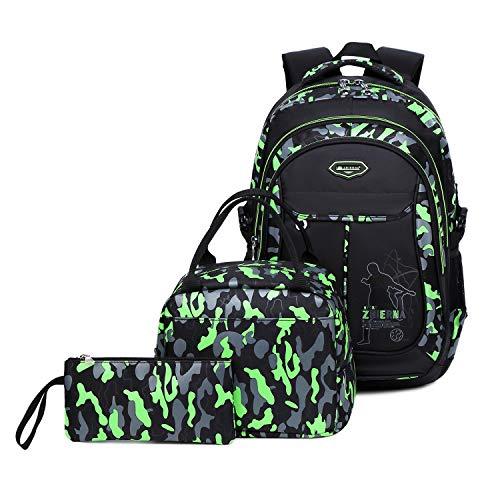 Abshoo Cool Boys School Backpacks For Elementary Backpack Middle School Bookbag (Black Green Set)