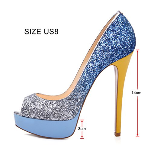 verni pour escarpins heels femme Chaussures high bout blau femme onlymaker glitzer 1BSwwXx