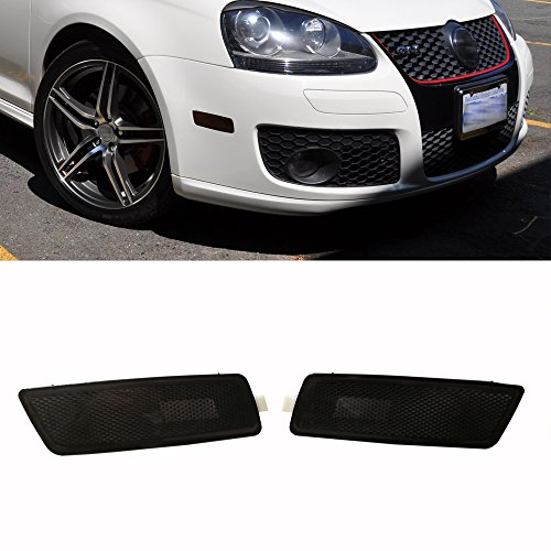 Ricoy Pair For 06-09 VW MK5 RABBIT/GTI//GLI JETTA Front Bumper Side Marker Lights Lamp (Smoke)