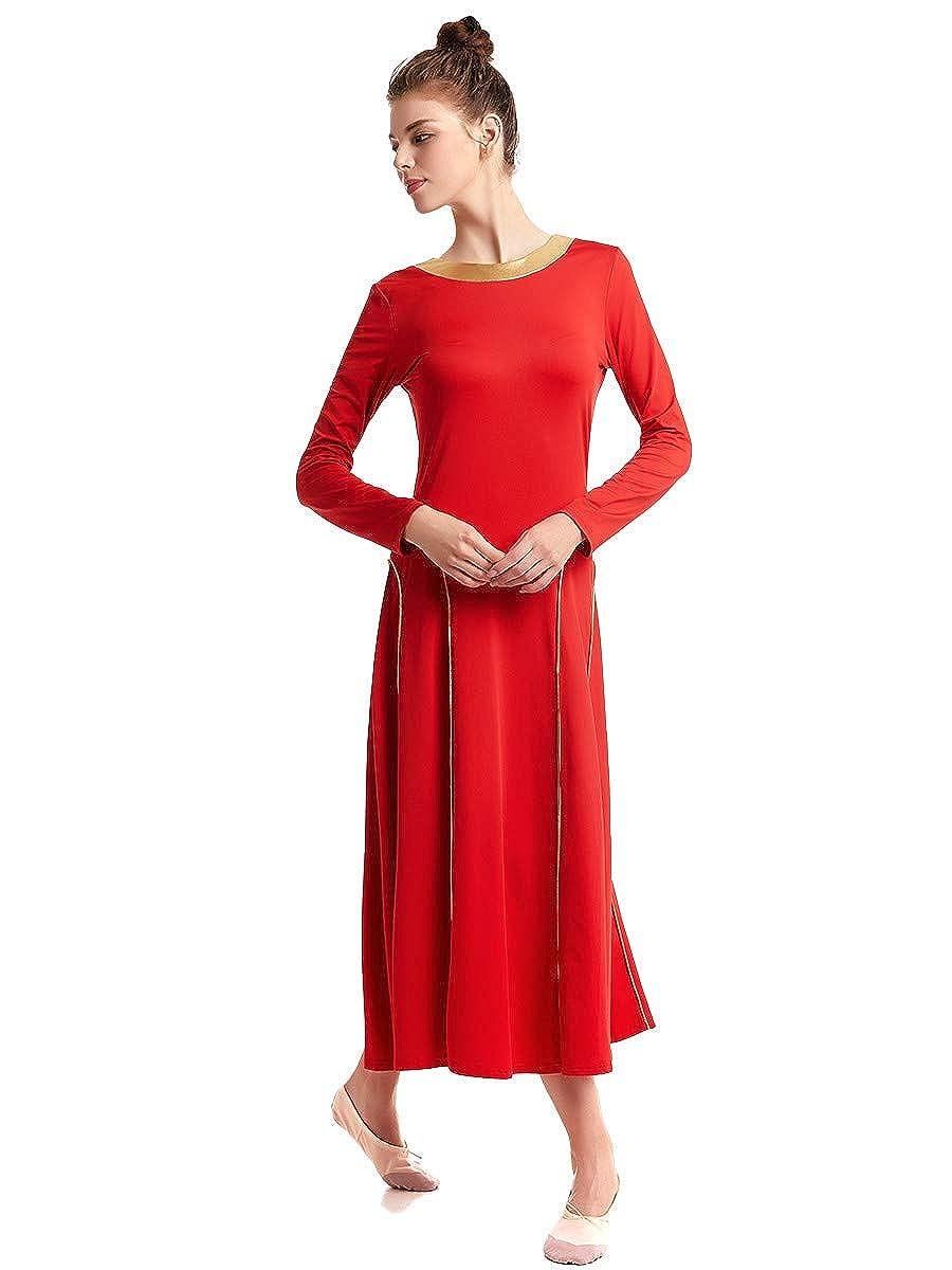 REXREII Women Praise Dresses Long Sleeve Liturgical Worship Dance Robe Full Length Wide Swing Celebration Dancewear