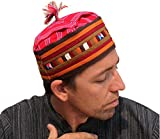 RaanPahMuang Brand LISU Hill Tribe Crafted Taqiyah Islam Hat Kufi Cap, Medium, Brown/Orange/Red