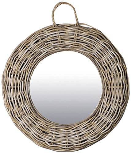 East at Main TT-WR-DT604-S Giota Grey Transitional Round Rattan Mirror, Small by East At Main