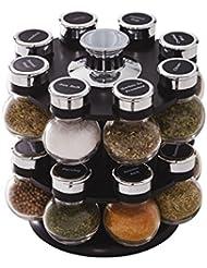 Kamenstein Ellington 16-Jar Revolving Spice Rack with Free Spice Refills for 5 Years