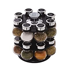 This Kamenstein Ellington 16-Jar Revolving Spice Rack is highlighted by a strong visual presentation of spice and emphasizes a gourmet look and feel. Includes a convenient carry handle for ease of use while cooking. Includes 16 jars filled wi...