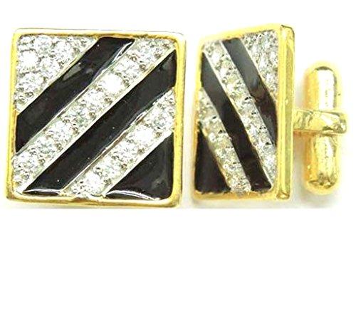 Pave Yellow Cufflinks (Wedding 0.34Ct Natural Diamond 14K Yellow Gold Black Enamel Father Day Men Gift Cufflinks IJ Color SI Clarity Handmade Jewelry)