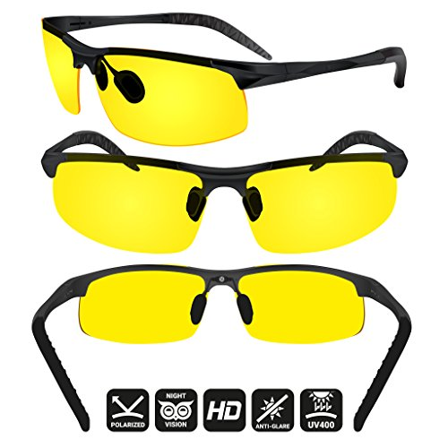 BLUPOND Night Driving Glasses - Semi Polarized Yellow Tint HD Vision Anti Glare Lens - Unbreakable Metal Frame with Car Clip Holder - Knight Visor (BlackCase) by BLUPOND (Image #1)