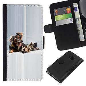eJoy---La carpeta del tirón la caja de cuero de alta calidad de la PU Caso protector - HTC One M9 - --Dog Cat Puppy Golden Setter