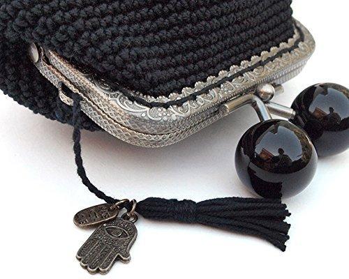 Monedero de mujer tejido a mano en ganchillo negro con ...
