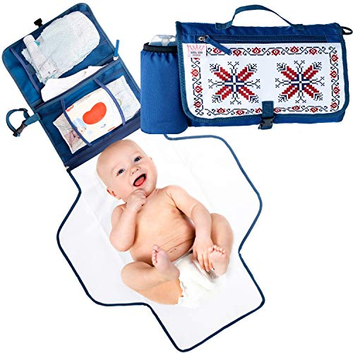 Portable Changing Pad with Detachable Extension - Diaper Changing Pad for Babies Suitable as Lightweight Baby Changing Station with Built-in Bottle Support - Fully Waterproof, Soft, and Wipeable