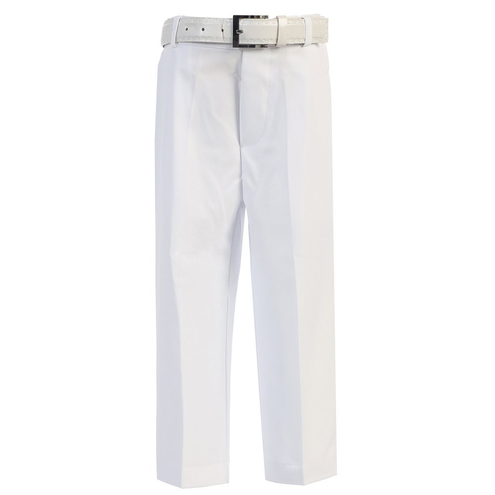 Big Boys White Flat Front Solid Belt Special Occasion Dress Pants 20