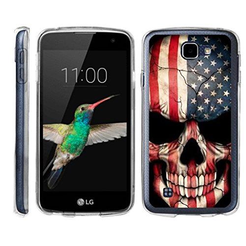 TurtleArmor   LG K4 Case   LG Optimus Zone 3 Case   LG Spree   LG Rebel [Flexible Armor] Flexible Clear TPU Case Slim Fitted Soft Armor Cover - US Flag Skull