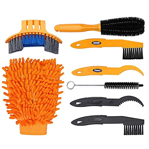 MMOBIEL Bike Cleaning Tool Set 7 Pieces Mountain Road City BMX Bicycle Cleaning Brush Kit for Chain, Wheel, Tire