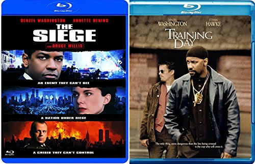 The Siege & Training Day Blu Ray 2 Pack Denzel Washington Double Feature Bundle Crime Action Movie Set