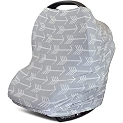 Stretchy 4-in-1 Carseat Canopy | Nursing Cover | Shopping Cart Cover | Infinity Scarf- Grey Arrow Print | Best Baby Shower Gift for Boys & Girls | Fits Most Infant Car Seats | For Breastfeeding Moms