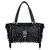 UTO Women Skull Bag Rivet Studded Handbag PU Leather Purse Satchel Shoulder Bags Black