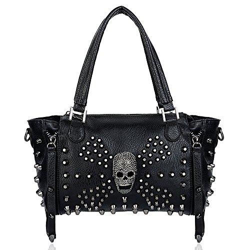UTO Women Skull Bag Rivet Studded Handbag PU Leather Purse Satchel Shoulder Bags Black A ()