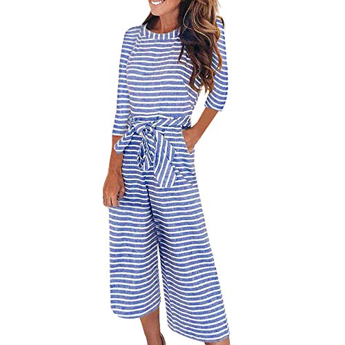 Womens Striped Jumpsuit, Half Sleeve Wide Leg Casual Clubwear Loose Casual One Piece Pants Outfit ❤️Sumeimiya Blue ()