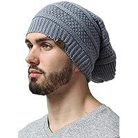 Slouchy Cable Knit Beanie - Chunky, Oversized Slouch Beanie Sombreros para hombres y mujeres - Manténgase abrigado y con estilo - Gorros serios para un estilo serio