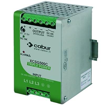 ASI XCSG500C 3-Phase DIN Rail Mount Power Supply, 24 VDC, 500W, 20 amp Output, 340 to 550 VAC Input