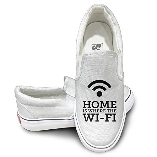 SH-rong Home Is Where The WiFi Unisex Canvas Sneakers Shoes Size 38 White (Bomb Lava Lamp)