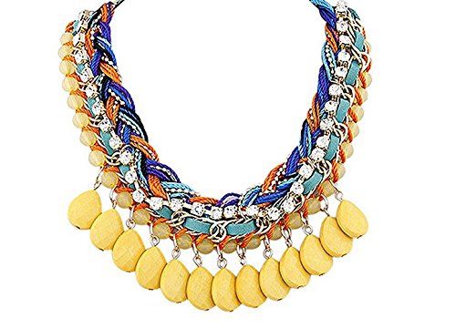 Weave Yellow Necklace - Jesica Women Bohemia Style Tassel Weave Necklace (Yellow)