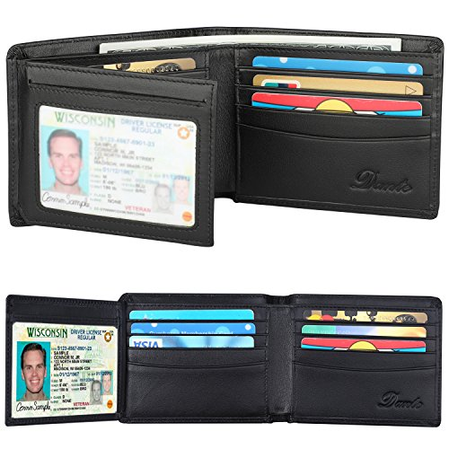RFID Blocking Cowhide Leather Wallet for Men with 2 ID Windows(Black)