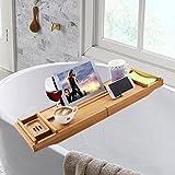 Adjustable 12 in 1 Bath Tube Caddy Tray, 1/2 Person SPA Bamboo Bathtub Caddy, Soap Dish| Wine Glass Holder, Book Reading Rack| Wooden Shelf (Bamboo)