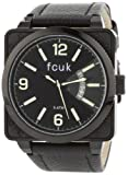 FCUK Men's FC1066BBGN Black Leather Strap Square Round Stainless Steel Ion-Plating Black Case Watch, Watch Central