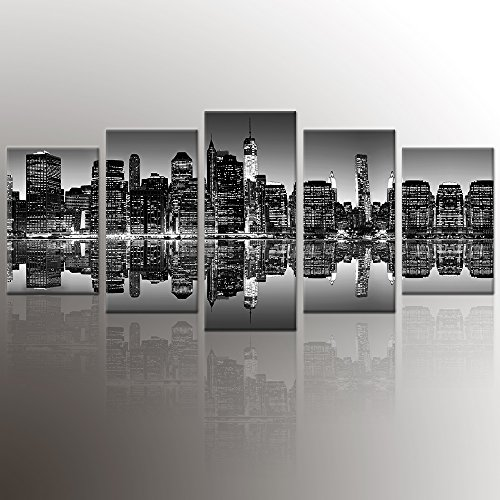 ARTGOW 5 Piece New York City Beautiful Night View Canvas Wall Art Home Décor Print Poster Paintings for Living Loom Framed Ready to Hang (black) (Painting Poster Canvas)