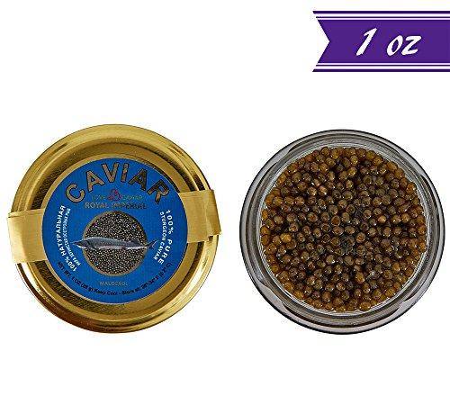 Russian Ossetra Sturgeon Caviar, Acipenser Gueldenstaedtii, 1 oz / 28 gm Jar plus Mother of Pearl Caviar Spoon, Gourmet Ossetra Caviar, Light-Salted, Farm Raised, OVERNIGHT SHIPPING by Stradiva