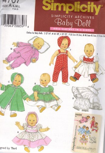 Simplicity Pattern 4707 for Baby Doll Clothes in Three (Small Doll Pattern)