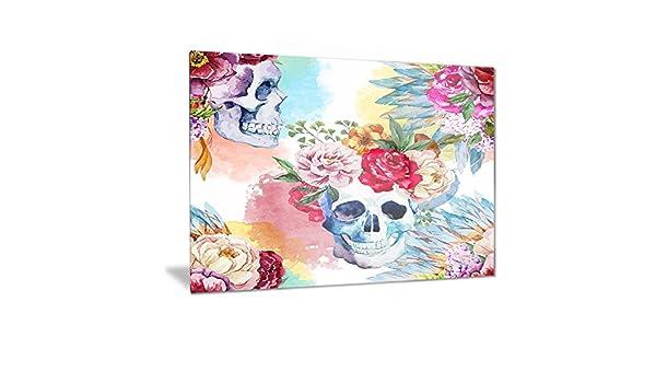 Purple 40x20 Designart Ethnic Skull with Flowers-Floral Canvas Art Print-40x20