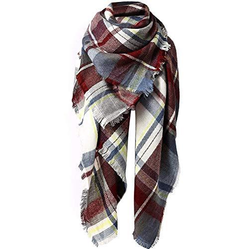 Zando Plaid Blanket Thick Winter Scarf Lightweight Scarfs for Women Fashion Scarfs Tartan Blanket Chunky Wrap Oversized Shawl Cape Fuchsia Blanket Scarf (Best Etsy Wedding Dresses)