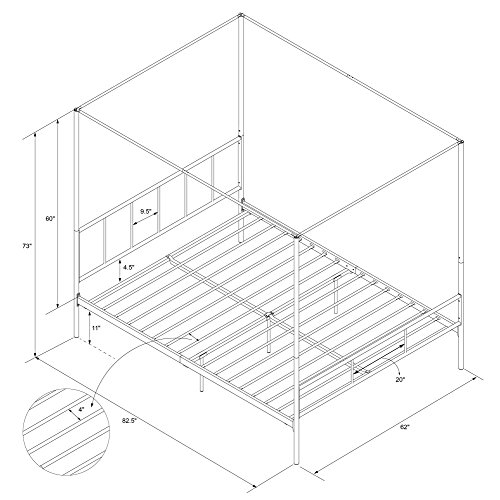 Novogratz Marion Canopy Bed Frame, Gold, Queen
