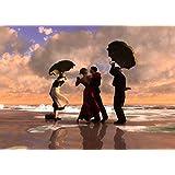 The Singing Butler Jack Vettriano Umbrella Love Dancing Beach Rain Art Print Poster Wall Decor For Home Modern Decoration Print Decor For Living Room 27.5 x 20 Inch