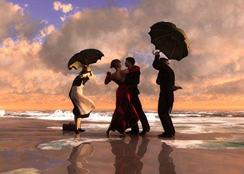 (The Singing Butler Jack Vettriano Umbrella Love Dancing Beach Rain Art Print Poster Wall Decor For Home Modern Decoration Print Decor For Living Room 27.5 x 20 Inch)