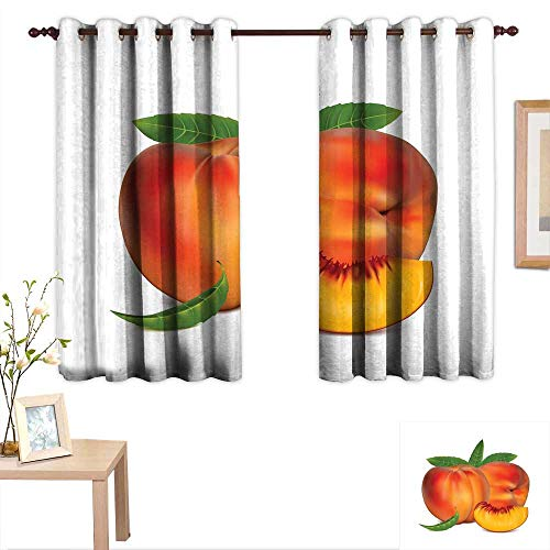 "Luckyee Peach Decorative Curtains for Living Room Vivid Juicy Fruit for Vegetarian Diet Slice of a Healthy Vitamin Rich Snack 63""x 72"",Suitable for Bedroom Living Room Study, etc."